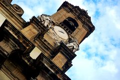 Church tower and facade Royalty Free Stock Images