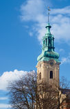 The church tower of the former Protestant church Stock Photos