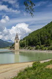 Church Tower Of Graun in the Lago Di Resia, Italy Stock Photography
