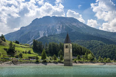 Church Tower Of Graun in the Lago Di Resia, Italy Stock Image