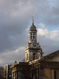 Church tower in Greenwich Village London. Lovely old church tower with ornate clock in Greenwich Village London royalty free stock photo