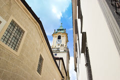 Church Tower in Historical Center Royalty Free Stock Image