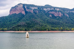 Free Church Tower In Sau Reservoir, Catalonia, Spain Stock Images - 83938424