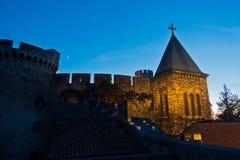 Church tower inside Kalemegdan fortress walls at blue hour in Belgrade Stock Photography