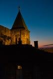 Church tower inside Kalemegdan fortress walls at blue hour in Belgrade. Serbia Stock Photos