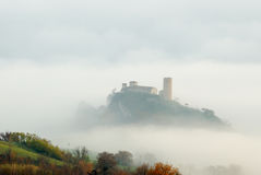 Church with tower. Isolated in the fog Royalty Free Stock Photo