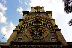 The church tower and its details stock photo