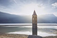 Church tower in lake Stock Photos