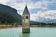 Church Tower In Lake Reschen, Italy Royalty Free Stock Photography