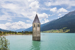 Church Tower In Lake Reschen, Italy Royalty Free Stock Images