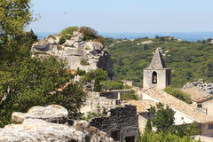 Church tower of Les Baux-de-Provence, France Royalty Free Stock Photo