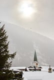 Church tower at Leukerbad, Switzerland Royalty Free Stock Image