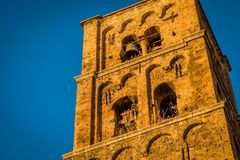 Church tower in Moustiers Sainte Marie Royalty Free Stock Images
