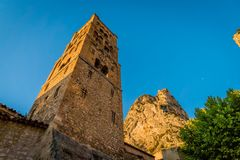Church tower in Moustiers Sainte Marie Stock Photography