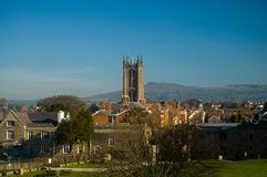 Church tower and ludlow. A view from the castle at ludlow Stock Image
