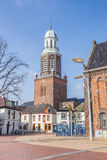 Church tower at the market square in Winschoten Royalty Free Stock Images