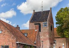 Church tower in the medieval village of Ezinge. Netherlands Royalty Free Stock Photo