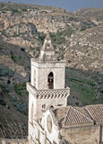 Church tower between the mountain Stock Photography