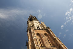 Church tower. New church tower in delft netherlands with clouds Royalty Free Stock Photo