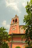 Church tower. Old red color church tower Royalty Free Stock Photo