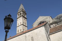Church and tower in perast. Old town in montenegro in europe Stock Images