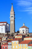 Church Tower in Piran Royalty Free Stock Photos