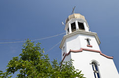 Church tower in Pomorie. From the 17th century in Bulgaria Royalty Free Stock Images