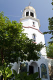 Church tower in Pomorie. From the 17th century in Bulgaria Royalty Free Stock Image