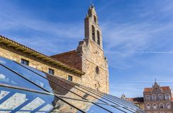 Church tower with reflection in glass roof in Astorga Royalty Free Stock Photography