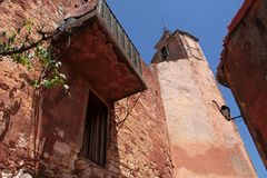 Church tower in Roussillon Royalty Free Stock Photos