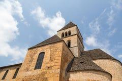 Church Tower in Saint-Léon-sur-Vezere. Close-up of the church in France's Saint-Léon-sur-Vezere stock images