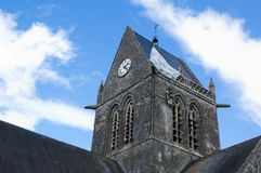 Church tower of Sainte-Mere-Eglise, France Royalty Free Stock Image
