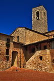 A church tower, San Gimignano, Tuscany. Royalty Free Stock Image