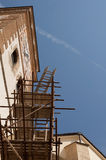 Church tower and scaffolding Royalty Free Stock Images