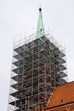 Church tower with scaffolding Stock Images