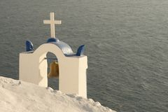 Church-tower by the sea. (Santorini, Greece Stock Photography