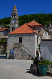 Church tower in small picturesque  town of Vis Royalty Free Stock Image