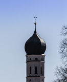 Church tower. A snippet of a steeple in Bavaria Stock Photography