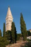 Church tower of St. Euphemia Church. In  old coastal city Rovinj in Croatia Stock Images