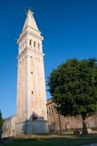 Church tower of St. Euphemia Church. In  old coastal city Rovinj in Croatia Stock Photography