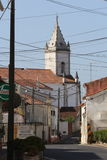 Church tower. A street and a church tower in a small village in Alcobaça - Portugal Stock Photography