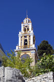 Church tower on the Symi island. Church tower on the blue sky. The island of Symi. Greece Royalty Free Stock Image