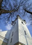 Church tower among the trees Stock Photography