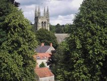 Church tower through the trees. The church tower seen through the trees and above the rooftops Stock Photos