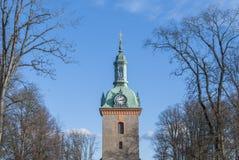 Church tower in Vanersborg Sweden. In winter stock photography