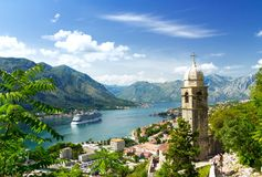 Church tower and venetian architecture of an old Mediterranean town, Bay of Kotor Royalty Free Stock Photos