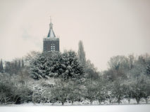 The Church tower in Vianen, Netherlands. In the snow Royalty Free Stock Image