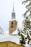 Church tower view in Chamonix town, France, winter Royalty Free Stock Photos
