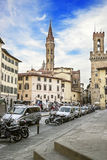 The church tower view from the street in Florence in Italy in su Stock Photography