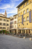 The church tower view in the street in Florence in Italy in summ Stock Image